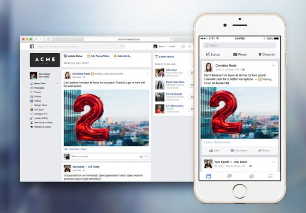 FACEBOOK AT WORK È FINALMENTE DISPONIBILE: ECCO COME FUNZIONA